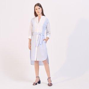 Two-Tone Shirt-Effect Dress - Dresses - Sandro-paris.com