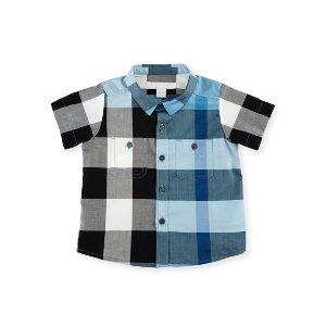 Burberry Camber Poplin Check Shirt, Blue, Size 6M-3