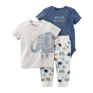 3-Piece Elephant Babysoft Bodysuit Pant Set