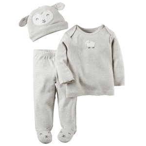 Baby Girl 3-Piece Babysoft Footed Pant Set | Carters.com