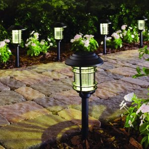 Hampton Bay Black Solar LED Pathway Outdoor Light (6 Pack)
