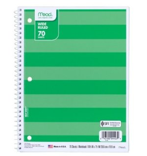 $0.38Mead Wide Ruled 70 Sheets Notebook