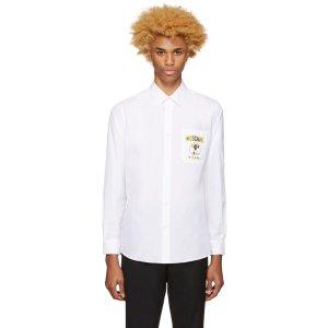 Moschino: White Logo Shirt