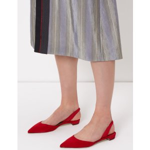 Red Suede Slingback Rhea Flats | Paul Andrew | Avenue32
