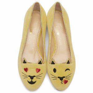Charlotte Olympia Yellow Velvet Flirty Kitty Flats