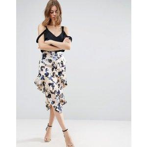 ASOS Satin Midi Skirt in Animal Print with Drawcord and Ruffles
