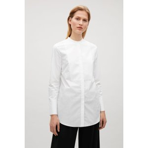 Long collarless shirt - White - Sale - COS US