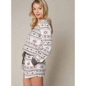 Fairisle Minky Playsuit - Grey Mix | Boux Avenue