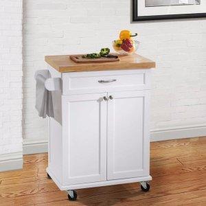 $89Hampton Bay Ashby White Kitchen Cart @ The Home Depot