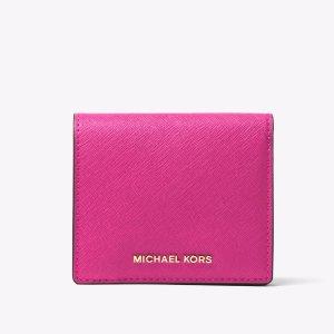 Jet Set Travel Saffiano Leather Card Holder   Michael Kors