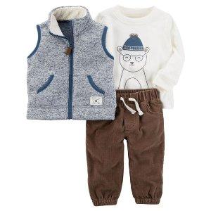 3-Piece Sherpa Vest Set