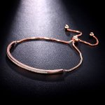 SHINCO Half Bar CZ Paved 18k Rose Gold Plated Adjustable Chain Bracelets Women Jewelry
