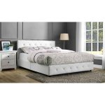 Dakota Faux Leather Upholstered Bed, White, Queen Size
