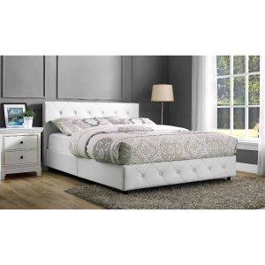 $150.07比Full-Size还便宜Dakota Faux 皮革包裹软垫床 白色 Queen
