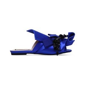 NO 21 - Bow embellished satin slippers | Selfridges.com