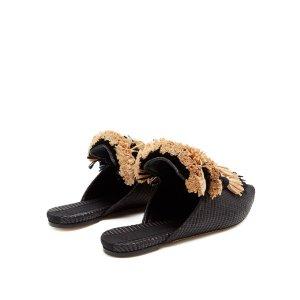 Anetta fringed-tassel raffia slipper shoes | Sanayi 313