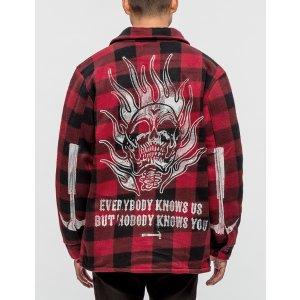 Warren Lotas Flaming Skull Plaid Sherpa Jacket   HBX