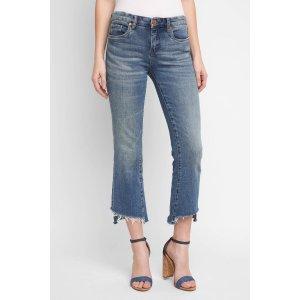 Blank Asymmetrical Hem Crop Flare Jeans