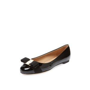 Varina Bow Leather Ballet Flat by Salvatore Ferragamo at Gilt