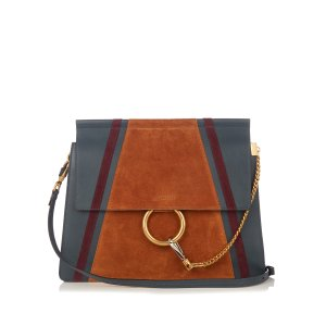 Faye medium suede and leather shoulder bag | Chloé