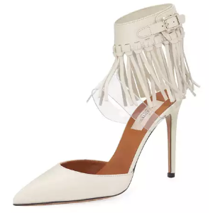 Fringed Ankle-Strap Leather Pump, Ivory