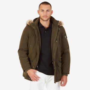 Faux Fur Trimmed Hooded Coat