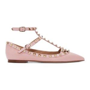 Pink Valentino Garavani Rockstud Cage Ballerina Flats