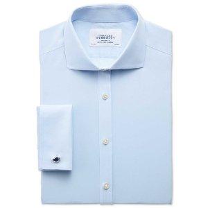 Extra slim fit spread collar non-iron poplin sky blue shirt | Charles Tyrwhitt