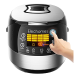LED Touch Control Electric Rice Cooker - Elechomes CR502 10 Cups(Uncooked) Rice Cooker | 16-Modes Stainless Steel Multi-Cooker with Steamer and Warmer, Non-Stick Surface and In-Built Preset Timer