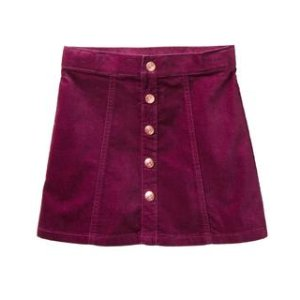 Button Velveteen Skirt