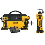 DEWALT 20-Volt MAX Lithium-Ion Cordless Combo Kit (2-Tool) with Bonus Cordless Drywall Cut-Out Tool (Tool-Only)