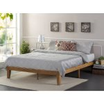 Solid Wood Platform Queen Size Bed, Rustic Pine