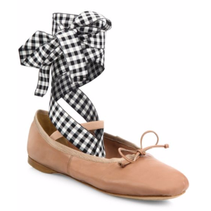 Miu Miu - Leather Lace-Up Ballet Flats - saks.com