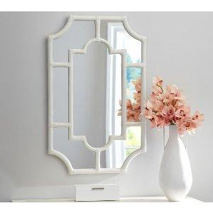 Avery White Bamboo Mirror | Pottery Barn