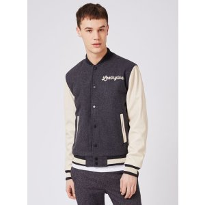 Charcoal Wool Blend Varsity Jacket - View All Sale - Sale - TOPMAN USA