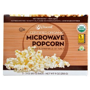 Vitacost Certified Organic Microwave Popcorn - Non-GMO Lightly Salted -- 3 Bags
