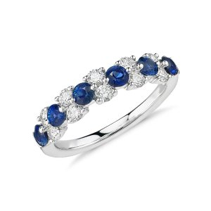 Sapphire and Diamond Garland Ring in 18k White Gold (1/2 ct. tw.) | Blue Nile