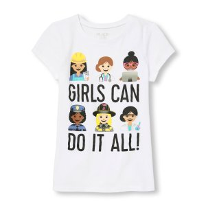 Girls Short Sleeve 'Girls Can Do It All' Emoji Graphic Tee | The Children's Place