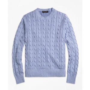 Heathered Cable Knit Crewneck Sweater - Brooks Brothers