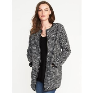 Textured-Jacquard Cardi-Coat for Women