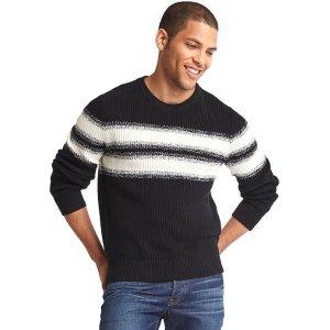 Gradient chest-stripe crewneck sweater