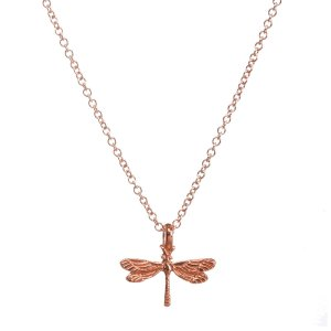 new arrivals friends forever dragonfly necklace, rose gold dipped