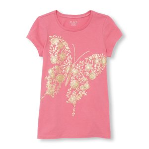 Girls Short Sleeve Glitter Butterfly Graphic Tee | The Children's Place