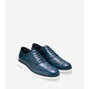 ZEROGRAND Wing Oxfords in Black Iris Glove Leather-White | Cole Haan