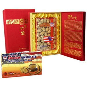 Cultivated Am Ginseng Pearl Medium Gift Box w/ Gin Tea