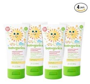 $9.18 Babyganics Mineral-Based Baby Sunscreen Lotion, SPF 50, 2oz Tube (Pack of 4)