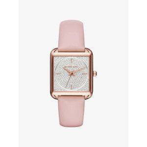 Lake Pavé Rose Gold-Tone and Leather Watch