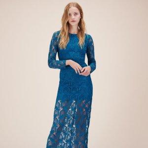 ROSANE Long patterned lace dress