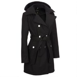 JESSICA SIMPSON WATER-RESISTANT TRENCH COAT W/ BELTED WAIST