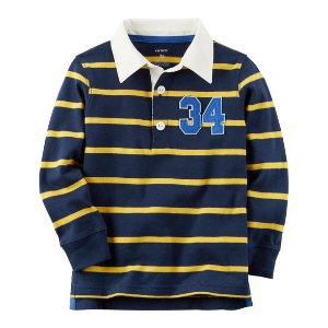 Baby Boy Long-Sleeve Rugby Striped Polo | Carters.com